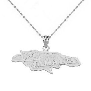 925 Sterling Silver Jamaica Map Pendant Necklace